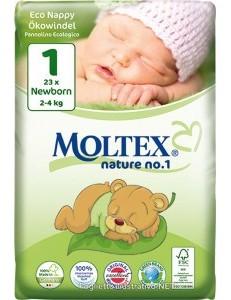 MOLTEX NATURE 1 NEWBORN 2-4KG 23PZ ECO NAPPY PANN.ECOLOGICO