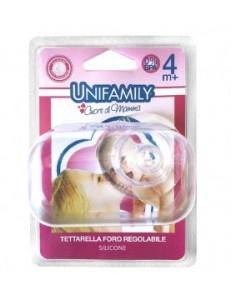 UNIFAMILY TETTARELLA SILICONE FORO REGOLABILE GIRL 4M+