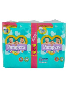 PAMPERS BABY DRY 6 PACCO CONVENIENZA EXTRALARGE 15-30KG 38PZ